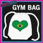 BRAZIL FLAG HEART LOVE GYM DRAWSTRING WHITE GYMSAC BAG